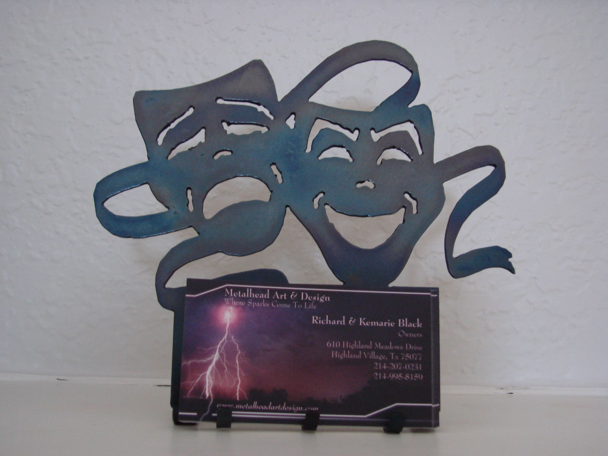 edy and tragedy metal desk art business card holder