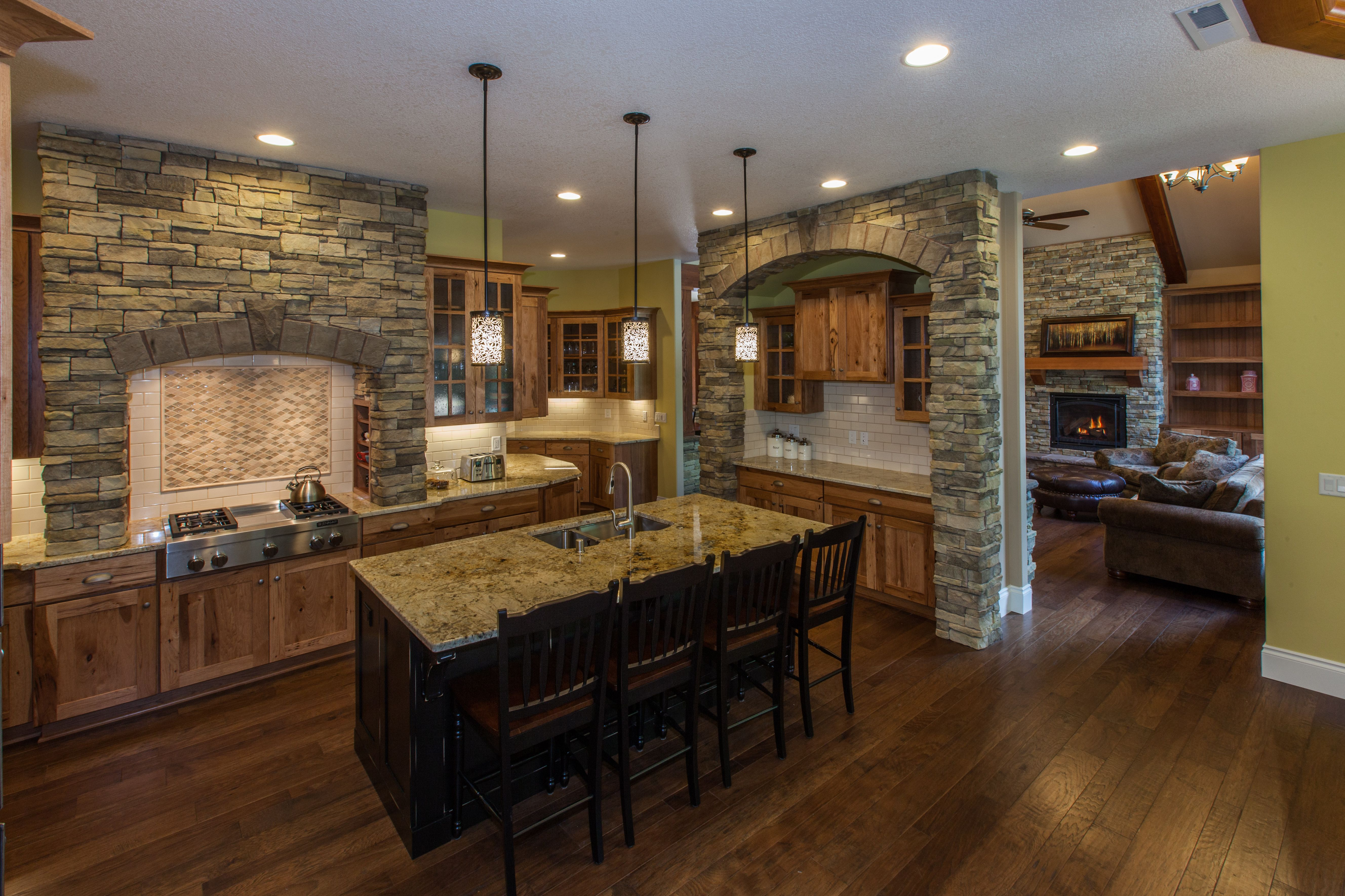 Kitchen with granite, beautiful rock, looking towards the Living Room.