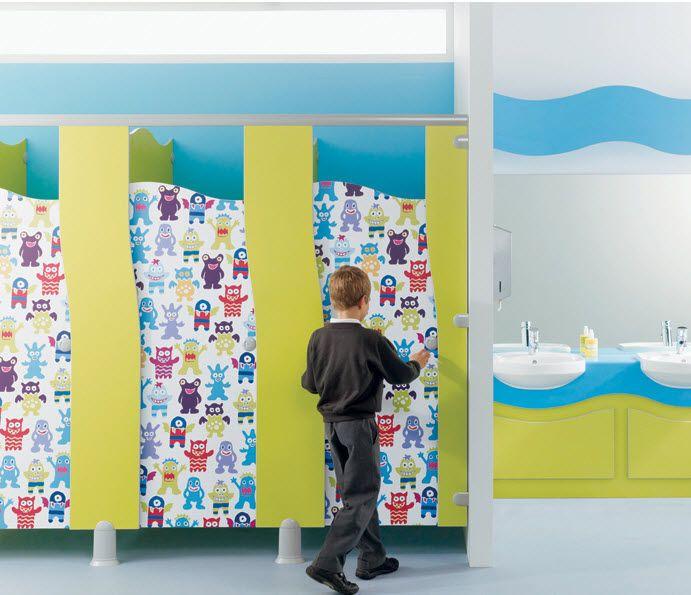 Commercial toilet partition surf armitage venesta school for Fun kids bathroom