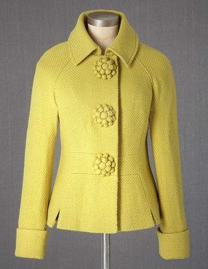 Jacket in Sulphur at Boden Clothing.  I love this jacket in the bright unexpected yellow along with a beautiful weave-texture and rosette buttons give this jacket a feminine retro look! - follow NYCathy01 for more styles
