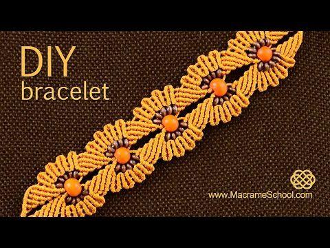 DIY Macramé Flower Bracelet with Beads ✿✿✿ - YouTube