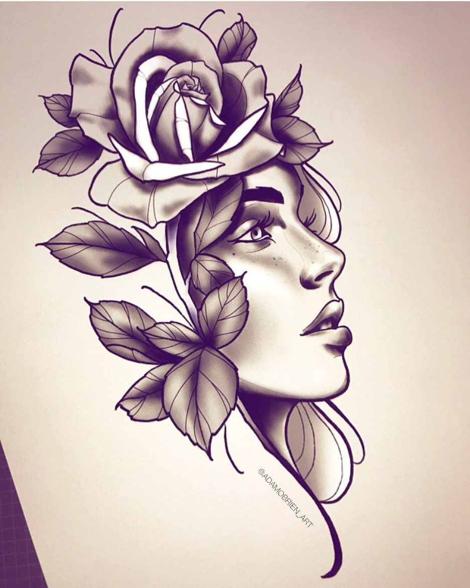 Adam Obrien On Instagram Neotraditional Neotrad Girl Women Face Rose Tattoo Design Graphic Art Tattoo Designs For Girls Rose Tattoo Design Girl Face Tattoo