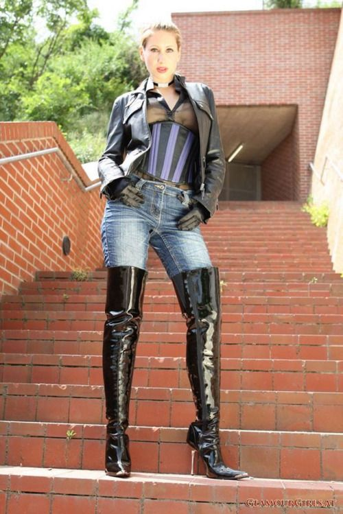 Thigh High Boots Jeans Leather Jacket High Heel Boots