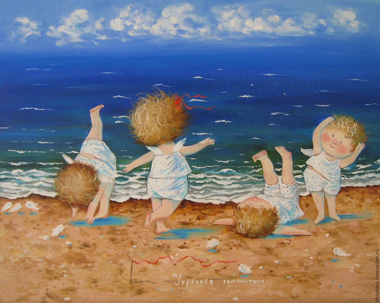 Бабушке, открытка с детьми море