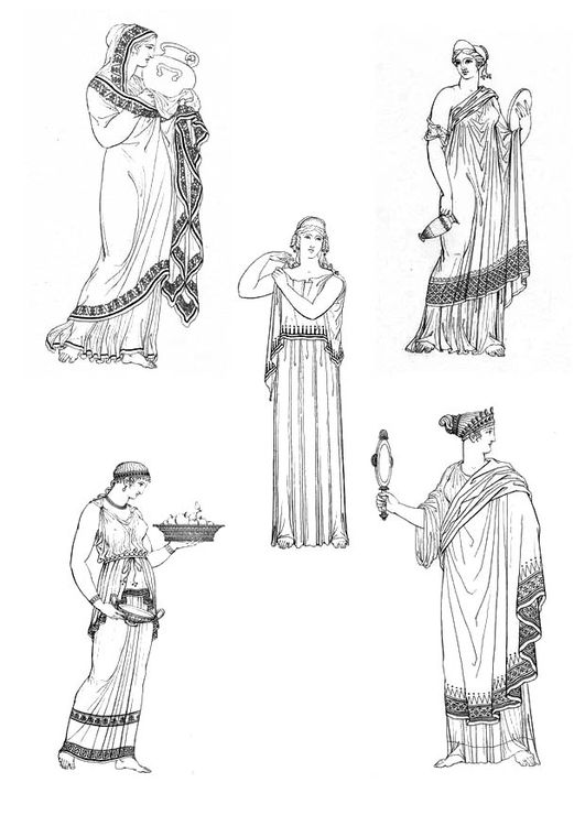 Dibujo para colorear Mujeres griegas | Proyectos que intentar en ...