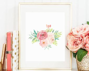 Image result for floral watercolor artwork mint and peach