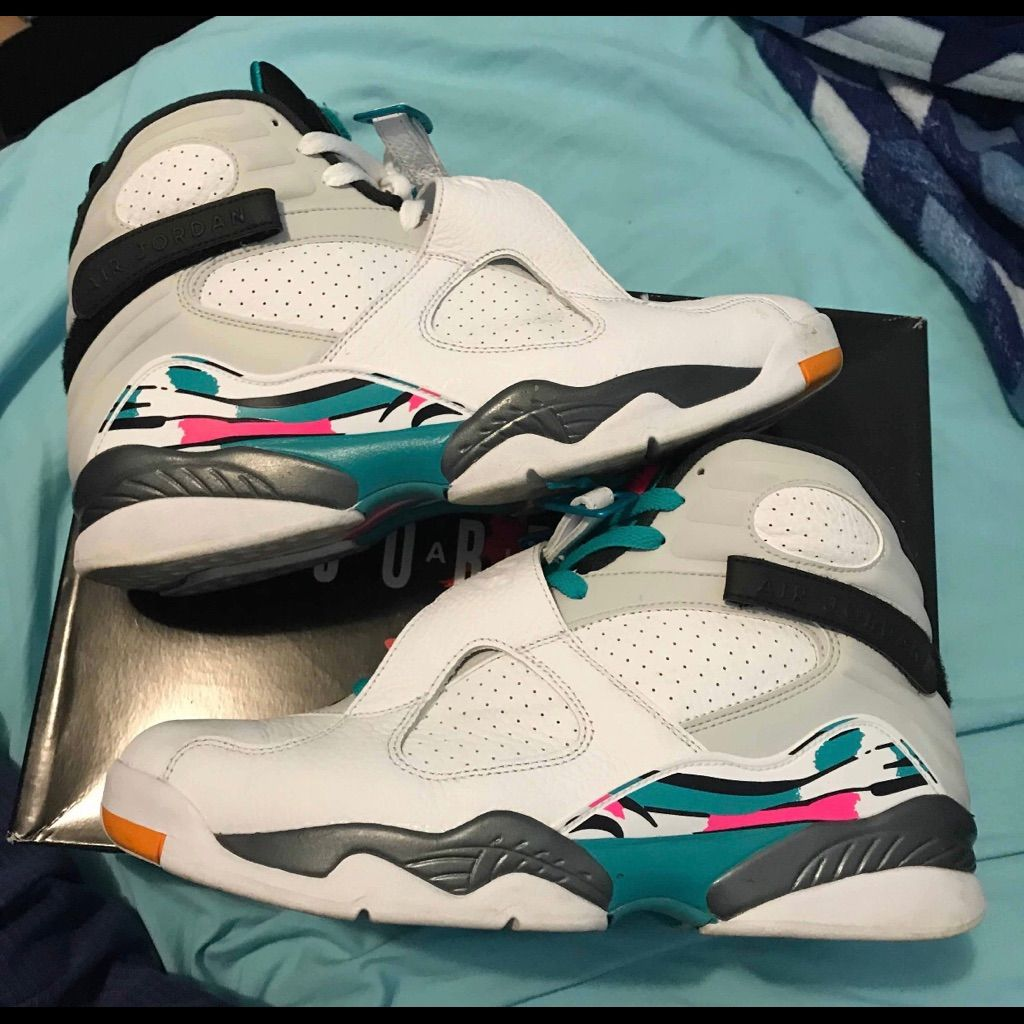 lowest price e2036 0bbd1 Jordan Shoes   Air Jordan Retro 8 South Beach   Color: White ...