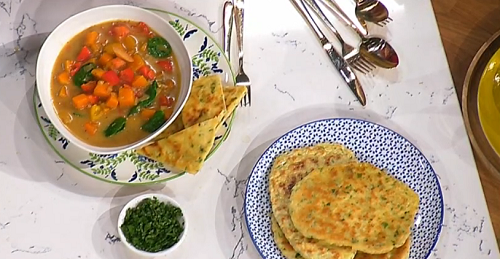 Ainsley's Caribbean vegetable soup with flatbreads recipe ...
