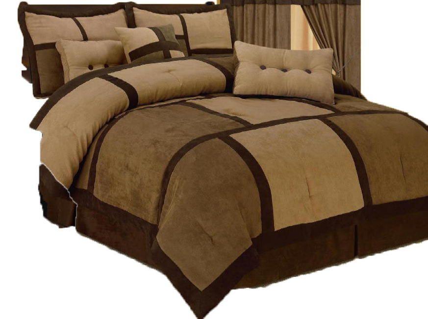 Tan and Brown Comforter Sets | Brown Tan Comforter Set Patchwork