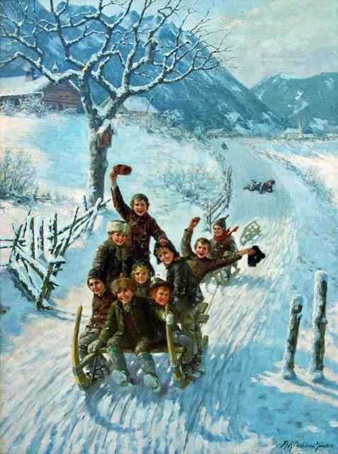 """Children sledding"" by Theodore Kleehaas"