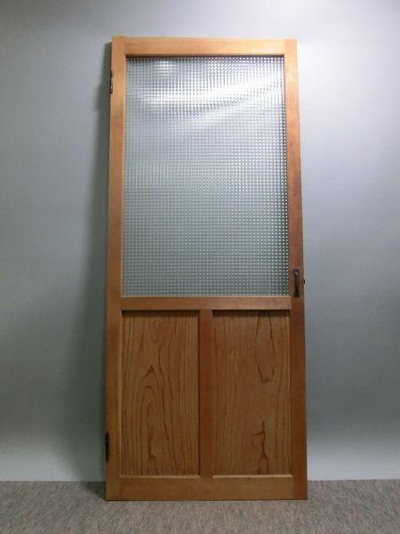 蓮華 昭和レトロ 古い木製のチェッカーガラスドア ガラス戸格子戸蔵戸