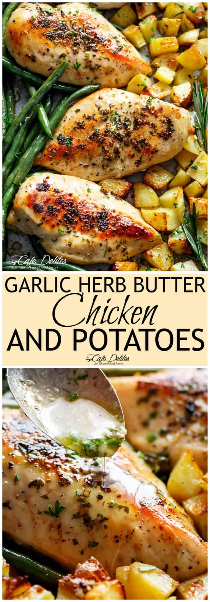 Sheet Pan Garlic Herb Butter Chicken has half the butter and fat WITHOUT compromising on a buttery flavour. A complete sheet pan chicken dinner with roasted potatoes and green beans! TASTES so sinful yet contains half the fat of a regular butter sauce for chicken that no one knows the difference! #onepandinnerschicken