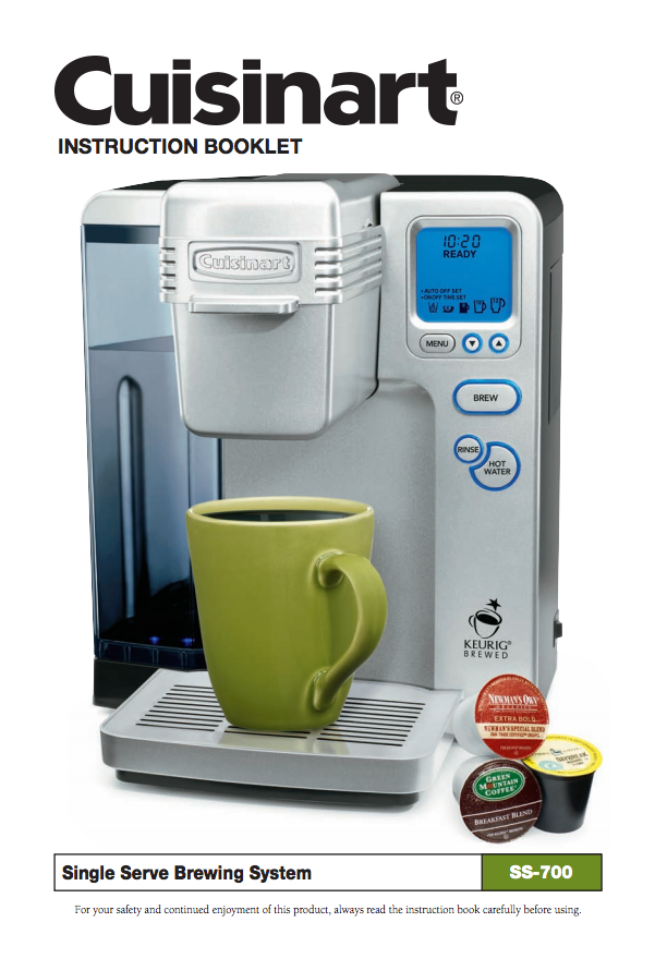 Single Serve Brewing System SS700 Product Manual Coffeemaker