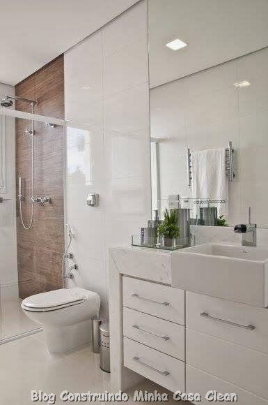30 dicas de banheiros e lavabos decorados e modernos - Lavabos modernos pequenos ...