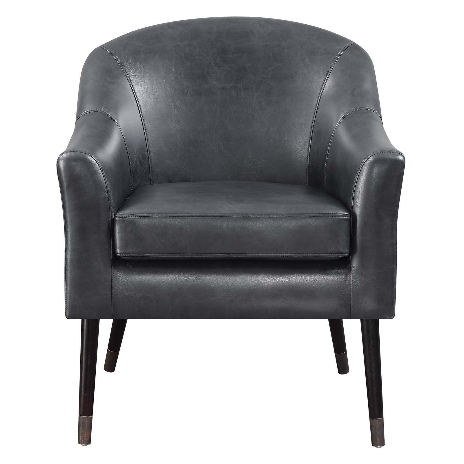 Scott Living Faux Leather Accent Chair From Hayneedle Com Leather Accent Chair Accent Chairs Black Accent Chair
