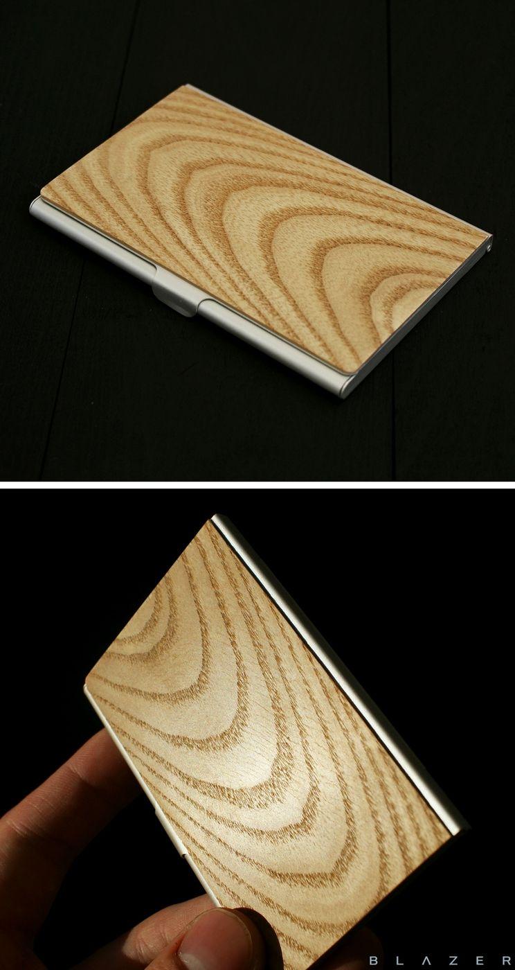 BLAZER card holder, business card holder, credit card case, wood ...
