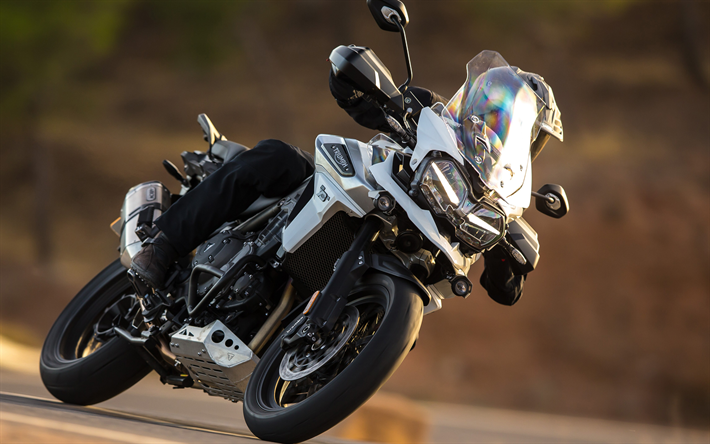 Download Wallpapers 4k, Triumph Tiger 1200, Rider, 2018