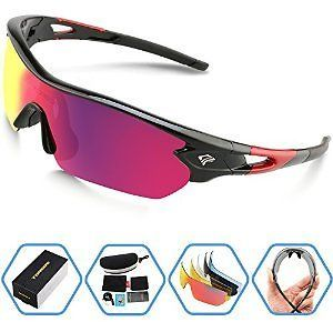 2cddffe8d3 Torege Polarized Sports Sunglasses With 5 Interchangeable Lenes for Men  Women Cycling Running Driving Fishing Golf Baseball Glasses TR002 (Black  Red  Red ...