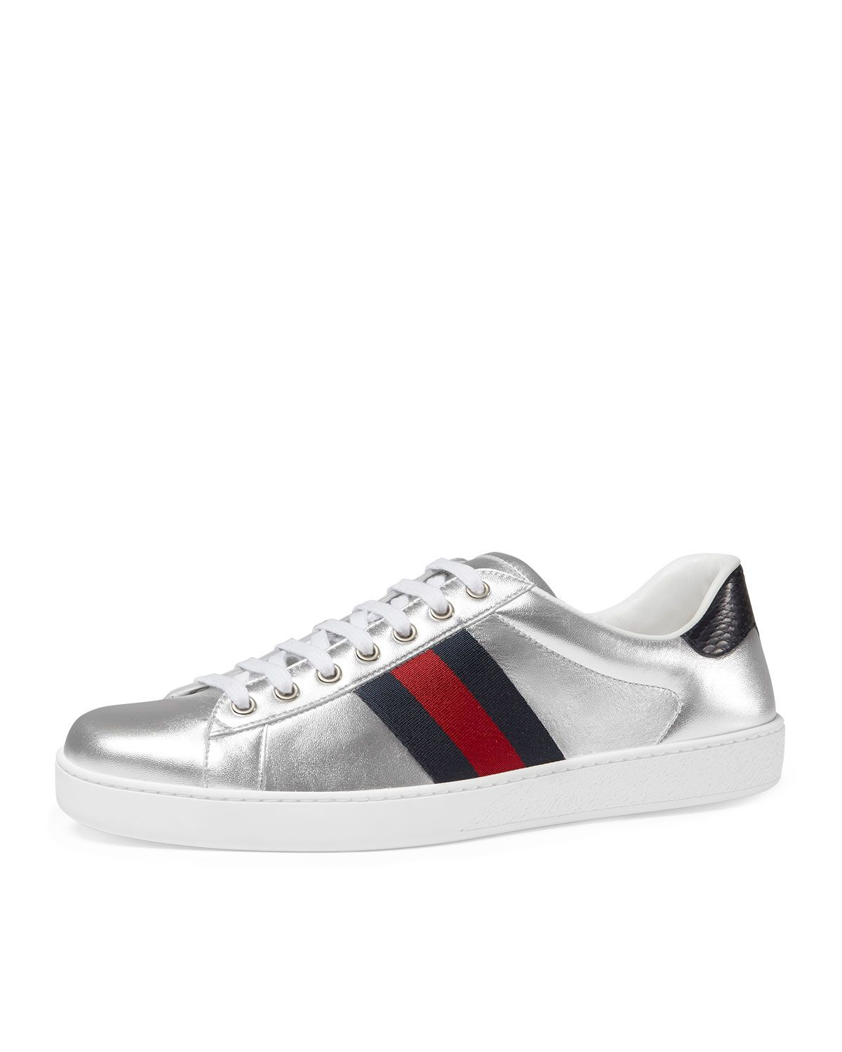 990e26fb1b79 Gucci New Ace Metallic Leather Low-Top Sneaker