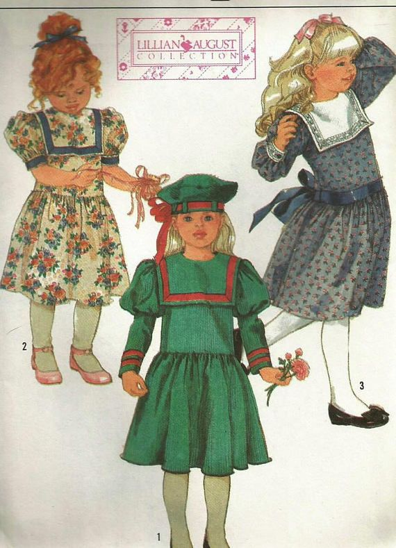 Vintage 80s Simplicity 8818 Toddler Girls Square Collar Dress with ...