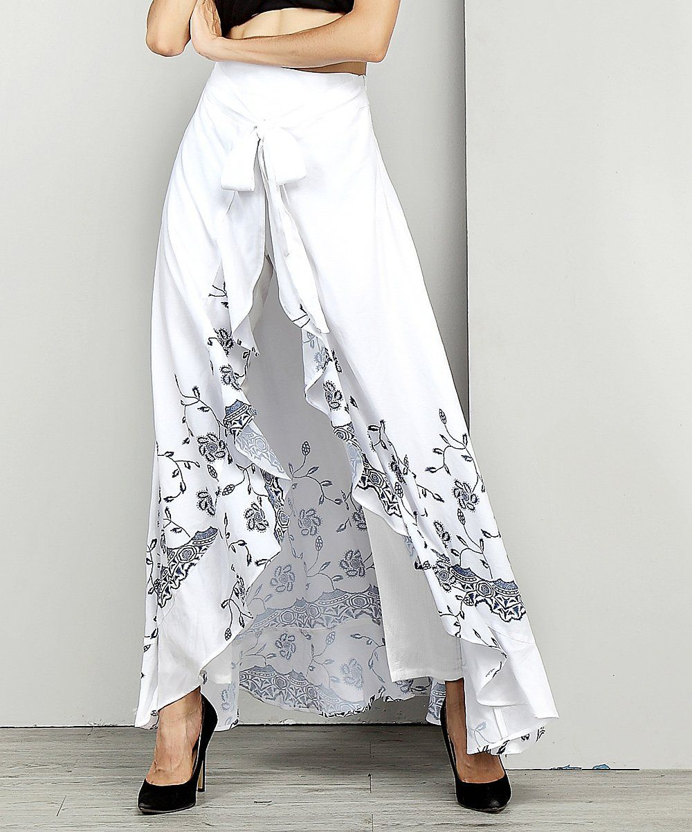 0d50ca0dfe12 Reborn Collection White Floral Chiffon High-Waist Ruffle Pants - Plus |  zulily