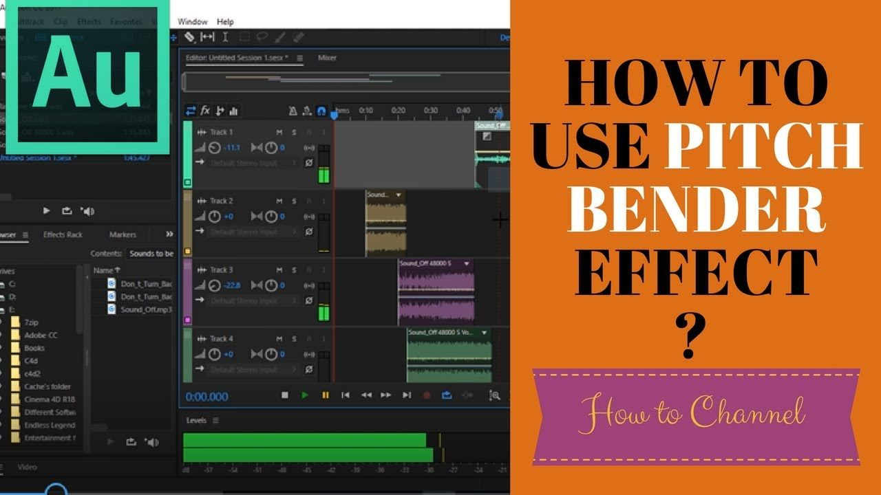 Adobe Audition 52 How To Use Pitch Bender Effect In Audition For Pitch A Adobe Audition Audition Adobe Illustrator Tutorials