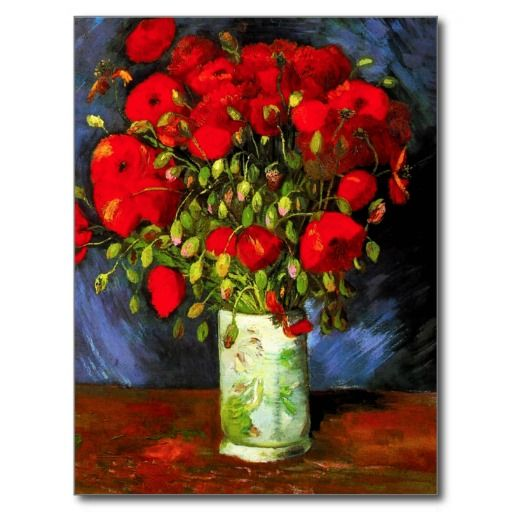 Van Gogh Vase With Red Poppies Postcard Zazzle Com In 2020 Van Gogh Art Van Gogh Paintings Vincent Van Gogh