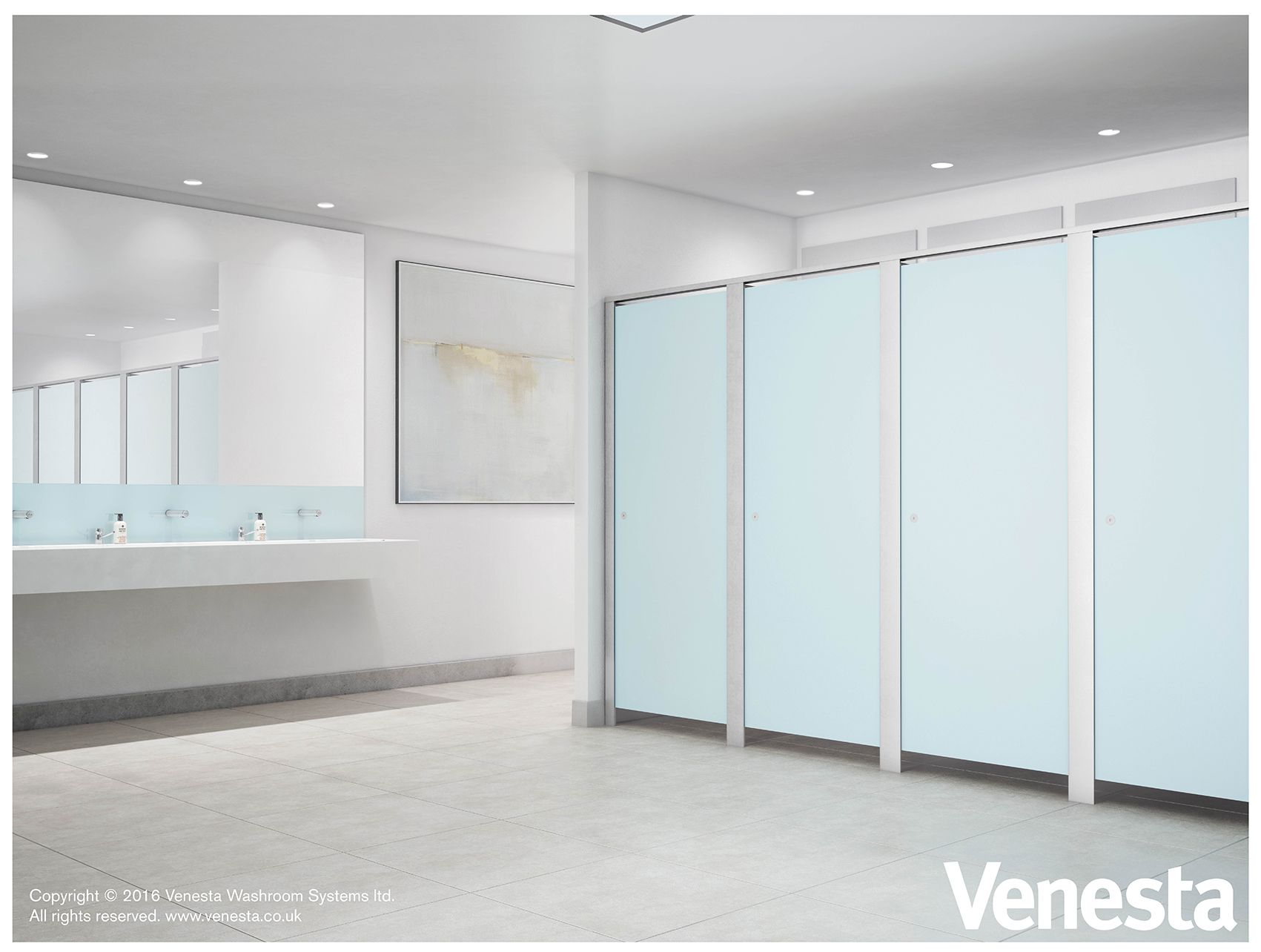 Fusion cubicles in Frozen Blue HPL and Solid Surface