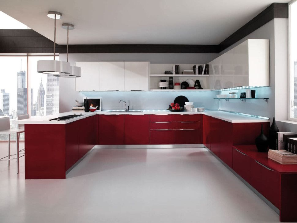 Kitchen contemporary barstool window red and white kitchen for White vinyl kitchen cabinets