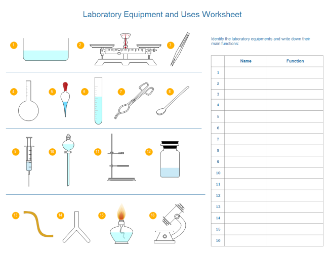 Lab Equipment Uses Worksheet. Editable worksheet with laboratory ...