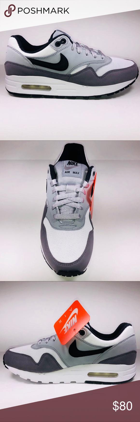 Nike Air Max 1 GS Black, Gunsmoke & White Sneakers New With