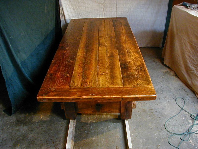 Rustic Barnwood Dining Table With 3 Thick Top