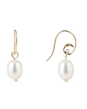 image of 14k Yellow Gold Pearl Earrings