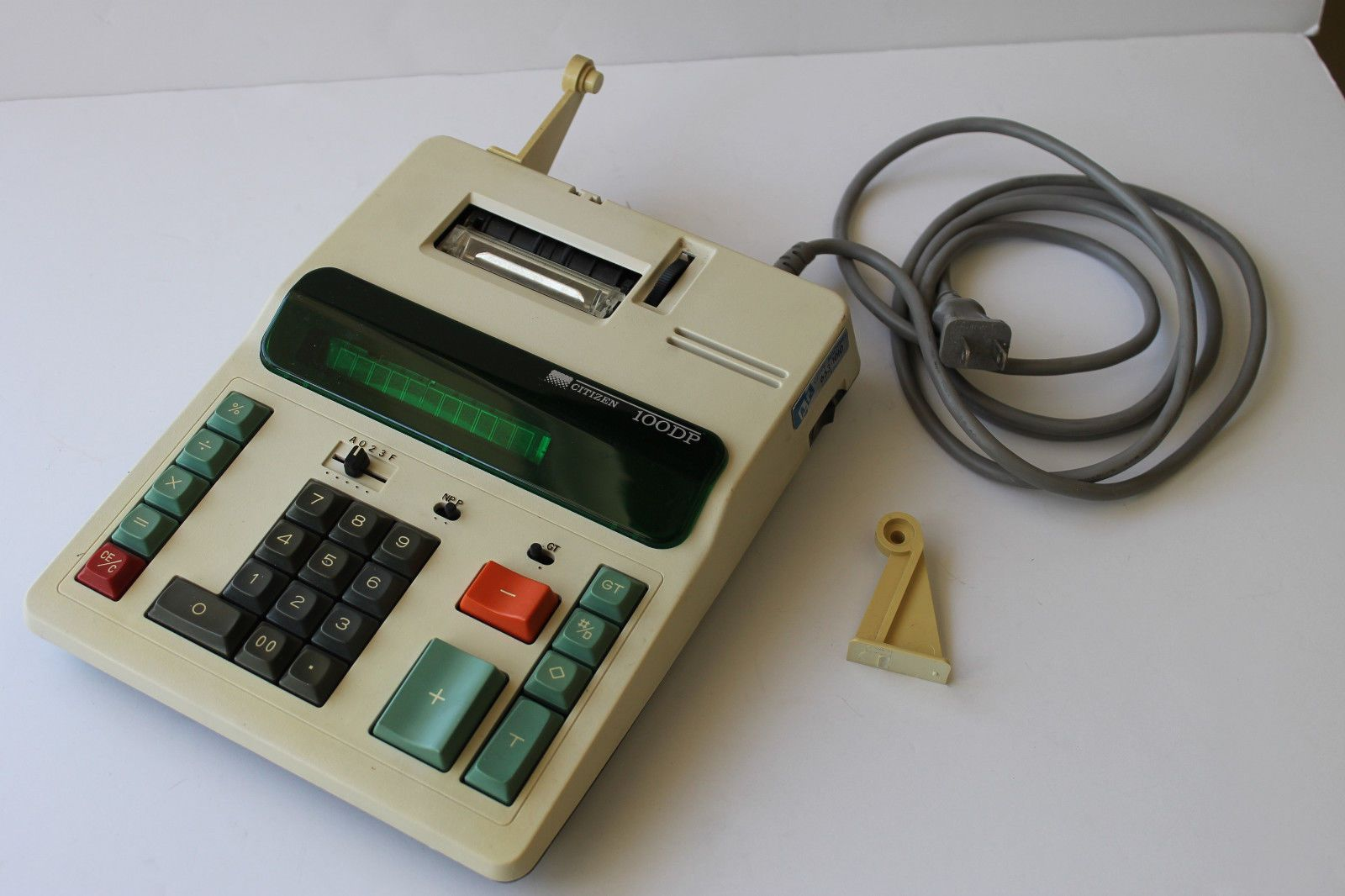 Vintage Citizen Electronic Calculator Adding Machine With Cover