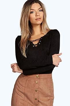 Hope Eyelet Detail Lace Up L/S Top