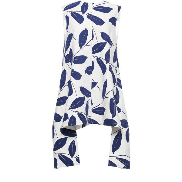 Marni Electric Blue Printed Leaf Tunic ($813) ❤ liked on Polyvore featuring tops, tunics, dresses, royal blue tunic, woven top, white v neck top, cotton tunic and white tunic