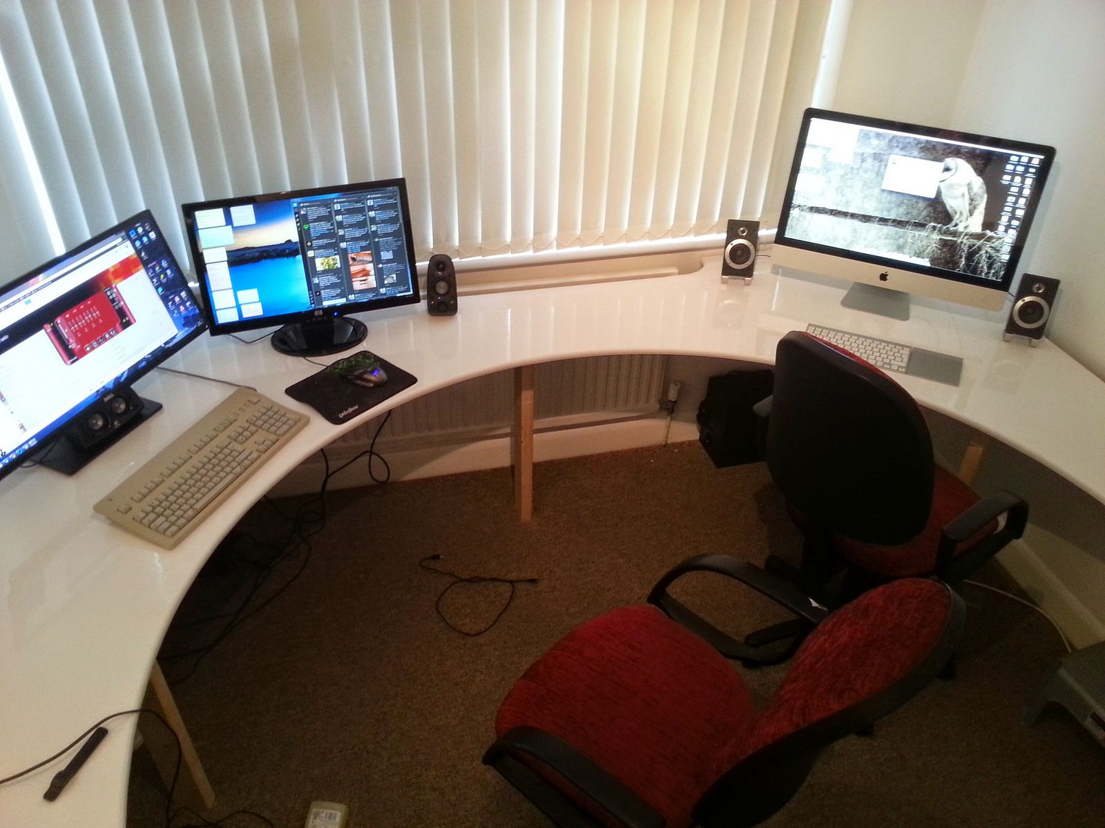 Circular desk ready for action  Desk, Office setup, Desk for two