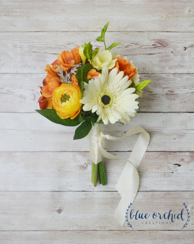 Wedding decorations white november 2018 Fall Bridesmaid Bouquet  Petite Fall Bouquet Fall Bouquet Orange