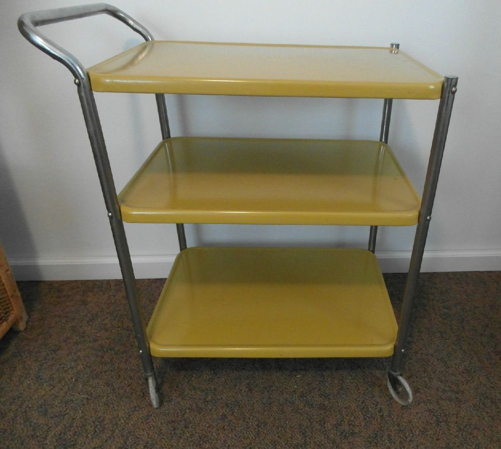 kitchen utility carts 13 gallon trash can cosco vintage 3 tier metal cart w wheels harvest gold yellow