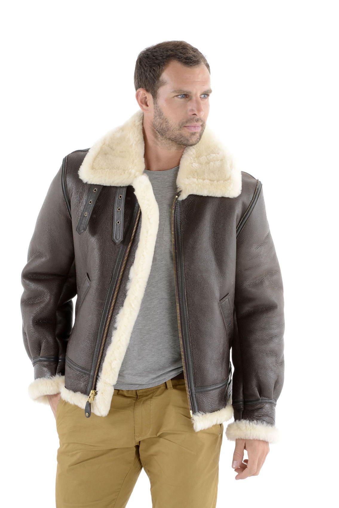 Vêtement en cuir Blousons SCHOTT marron   Mecs en blouson bombardier ... 0cedd757c71