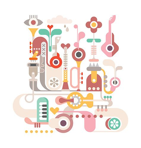 Abstract vector composition with musical instruments.