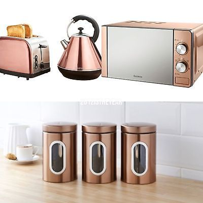 Goodmans Copper Kitchen Set Microwave Kettle Toaster And 3 Canisters Copper Kitchen Kettle And Toaster Copper Kitchen Decor