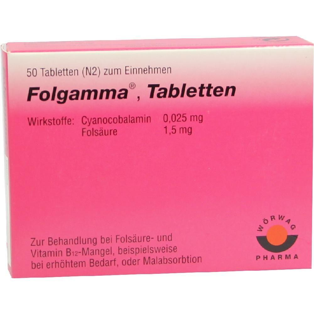 FOLGAMMA Tabletten:   Packungsinhalt: 50 St Tabletten PZN: 06198670 Hersteller: Wörwag Pharma GmbH & Co. KG Preis: 8,99 EUR inkl. 19 %…