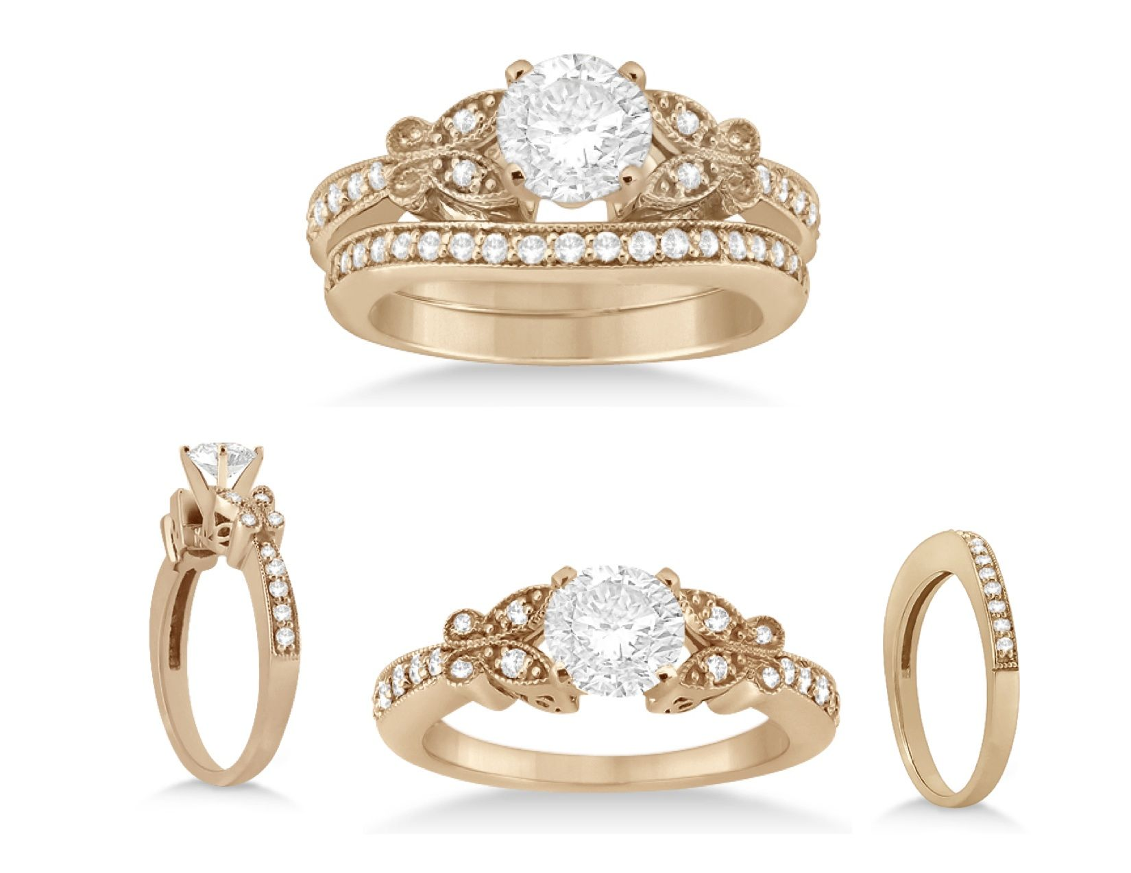 Butterfly Engagement Ring Wedding Band Bridal Set Palladium