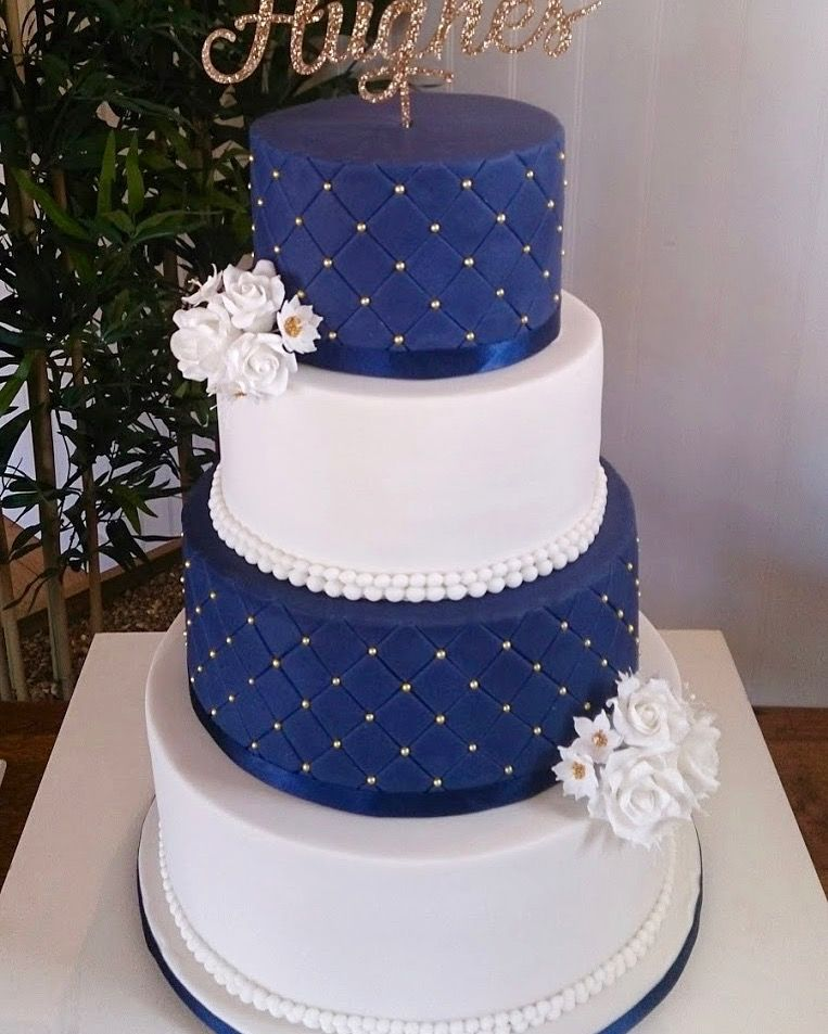 Wedding Cake Ideas Royal Blue: Elegant And Classical Navy, Gold And White Wedding Cake