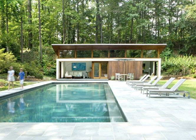 A Small House With A Big Pool Modern Pool House Pool House Designs Modern Pools