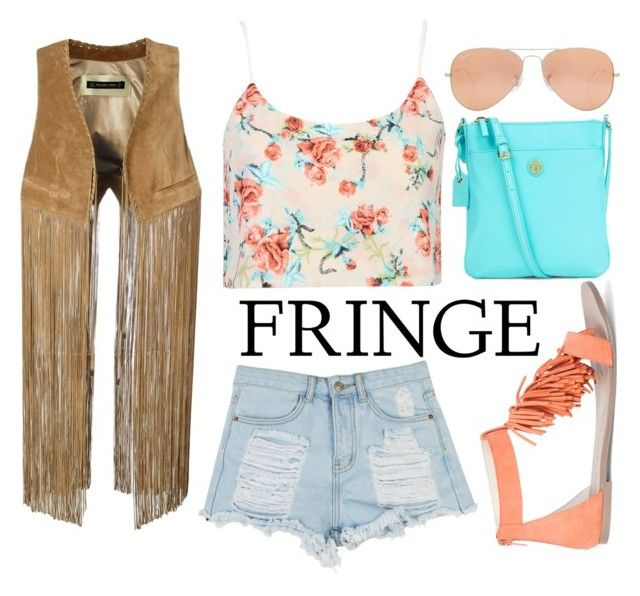 """""""Bright Fringe"""" by brittnicolev12 ❤ liked on Polyvore featuring Plein Sud, Sole Society, Talbots, Rayban, fringe, festival and festivalseason"""
