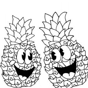 Pineapple A Pair Of Happy Pineapple Coloring Page A Pair Of Happy