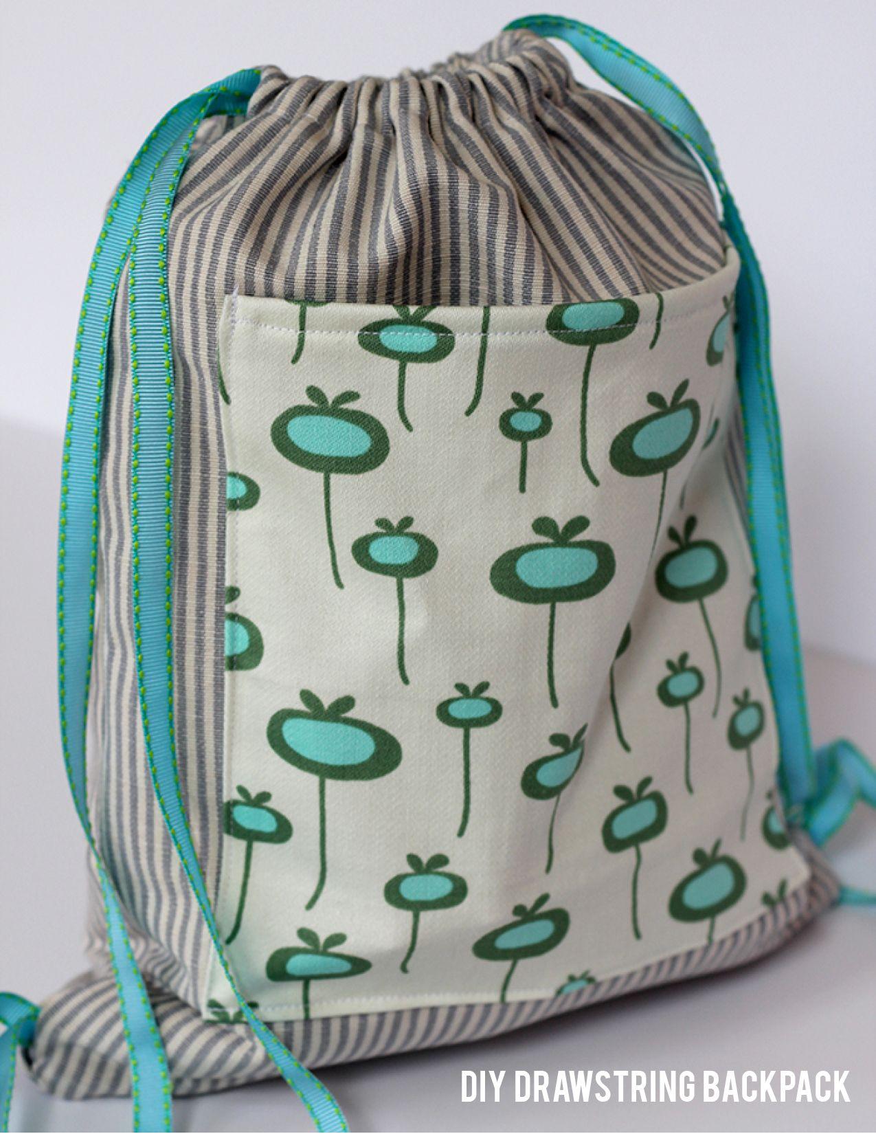 DIY Drawstring Backpack | Drawstring backpack, Backpacks and Bag