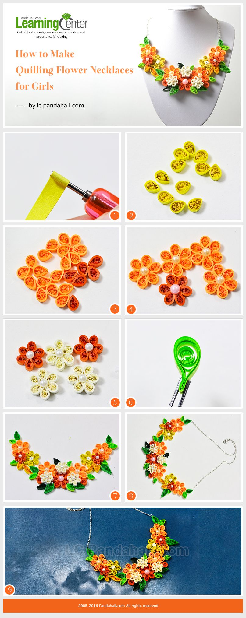 How to make quilling flower necklaces for girls quilling